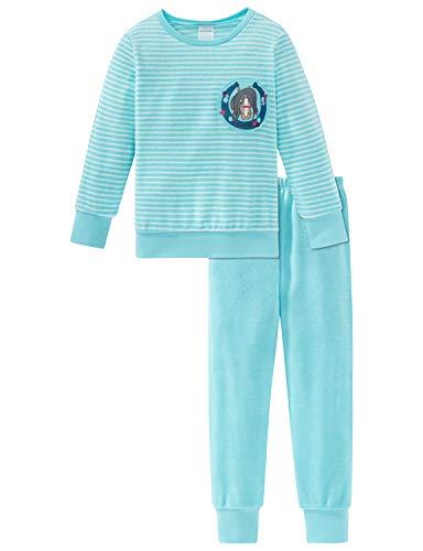 Schiesser Mädchen Ponyhof Md Anzug lang Zweiteiliger Schlafanzug, Blau (Türkis 807), 92 (Herstellergröße: 092)