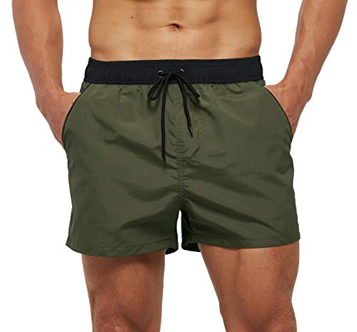 SILKWORLD Men's Quick Dry Swim Trunks Solid Swimsuit Sports Shorts with Back Zipper Pockets, Army Green, Large