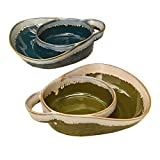 Stoneware Double Bowls for Dips and Soups - Blue and Green - Set of 2
