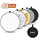 ELEGIANT 43 Inch/110 cm Light Reflectors for Photography, 5-in-1 Portable Photo Reflectors Collapsible Multi-Disc with Bag - Translucent, Silver, Gold, White, Black for Studio and Outdoor Shooting