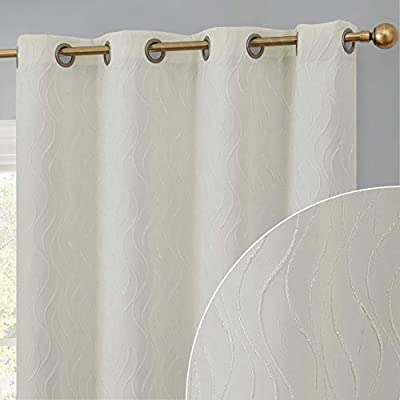 HLC.ME Camden 100% Complete Full Blackout 2 Layer Heavy Winter Heat Thermal Insulated Energy Efficient Noise Reducing Window Curtain Grommet Panels for Office & Bedroom, Set of 2 (50 W x 108 L, Ivory)