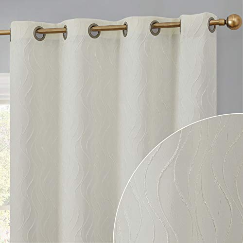 HLC.ME Camden Decorative 100% Full Blackout 2 Layer Winter Heat Cold Thermal Insulated Energy Savings Floor Length Thick Window Curtain Draperies Grommet Panels for Bedroom, Set of 2 (50 x 84, Ivory)