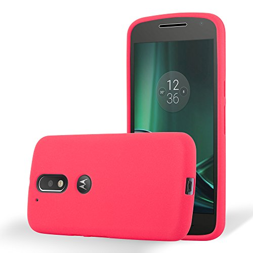 Cadorabo Hülle für Motorola Moto G4 / Moto G4 Plus - Hülle in Frost ROT – Handyhülle aus TPU Silikon im matten Frosted Design - Silikonhülle Schutzhülle Ultra Slim Soft Back Cover Case Bumper