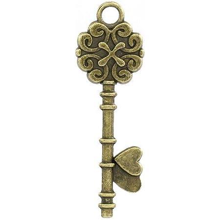 Charming Beads Tibetano Chiave Ciondolo/Pendente Steampunk Bronzo Antico 34mm Pacco di 10