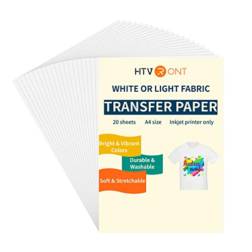 HTVRONT Iron On Transfer Paper for T Shirts - 8.5' x 11' 20 Pack Printable Heat Transfer Vinyl