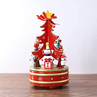 Gizhome Christmas Tree Music Box, Rotate Musicbox DIY Clockwork Music Box Xmas Pattern Nice for Kids(Red)