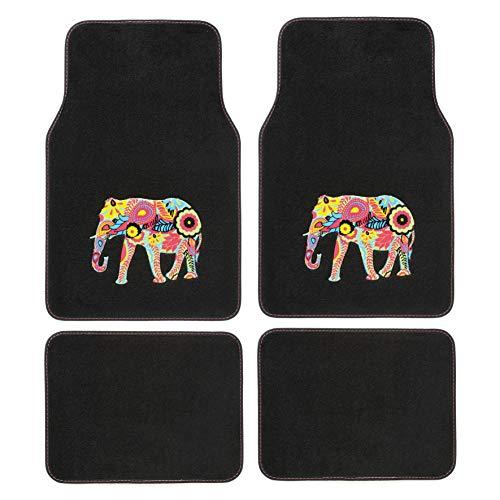 SUMEX PLUSHG1 Alfombra para Coche Universal de Moqueta, de Color Negra, Antideslizante y con Dibujo de Elefante en Relieve