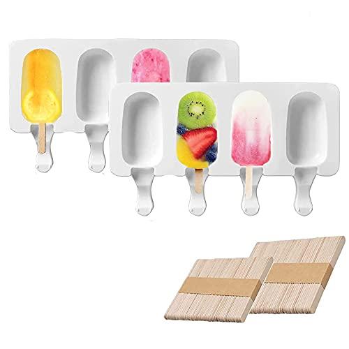 Molde de helado,Helado artesanal,de Grado Alimenticio, sin BPA,2 Piezas 4 Cavidades,verano fabricar popsicle yogur pudín chocolate.(con 100 unids Palos de Madera)
