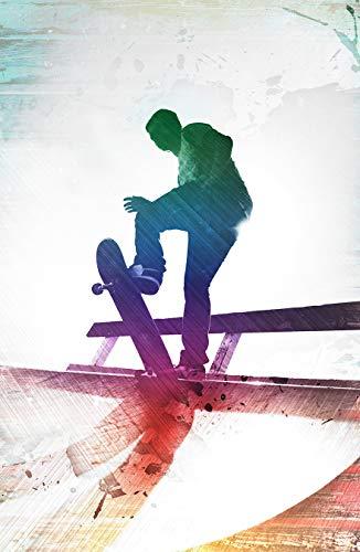 Fototapete selbstklebend Grungy Skateboarder - 200x130 cm - Bildtapete Fotoposter Poster - Skateboard Skater auf der Halfpipe