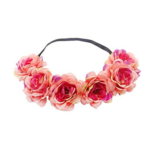 FEILEC Corona de flores para el pelo, diadema de novia, simulación, para vacaciones en la playa, accesorios, fiestas, corona de flores falsas, accesorio para el pelo (rosa rojo)
