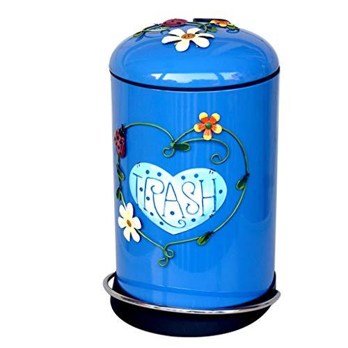 SPARROW Vintage vuilnisbak Geurvrij Toilet Keuken Slaapkamer Woonkamer Prullenbakken Pedaal Met deksel 3D patroon Creatieve Metalen Afvalmand