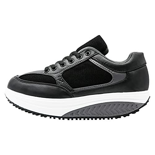 Mapleaf ortopédica Zapatillas Mujer Hombre Running Bambas Air Deportivas Zapatos Tenis Andar Fitness Calzado Zuecos Comodos Antideslizante Atletico Trainer Zapato Clasico Negro x Talla 39