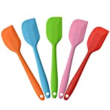 MOACC Silicone Spatula Heat Resistant Non-Stick Flexible Rubber With Solid Stainless Steel Kitchen Essential Gadget Small Premium Scraper Spoon Set of 5 (Random Color)