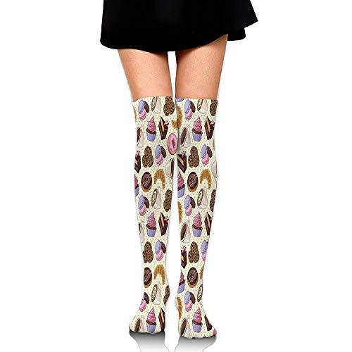 Coffee Shop thema afbeelding met bekers koekjes taart chocolade kunstwerk patroon vrouwen mode over de knie hoge sokken (60cm)