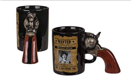 Kaffeebecher XXL Kaffeetassen Tassen lustig Revolver Griff Wanted 500 ml 1 Stück