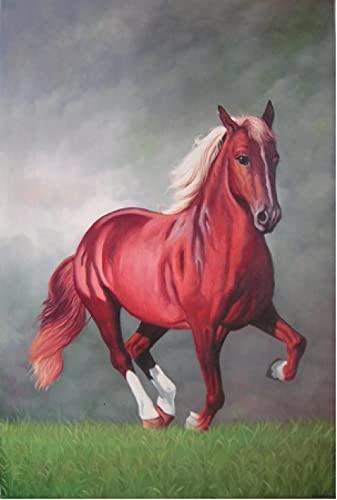 Cuadro en Lienzo Colorido de una Sola Pieza Impresión en Lienzo Caballo rojo en el paisaje 40x60cm Decoración Impresiones de Lienzo para Sala de Estar Decoración de Dormitorio.