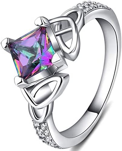 Jude Jewelers Celtic Knot Style Princess Cut Fire Crystal CZ Wedding Engagement Ring Silver product image