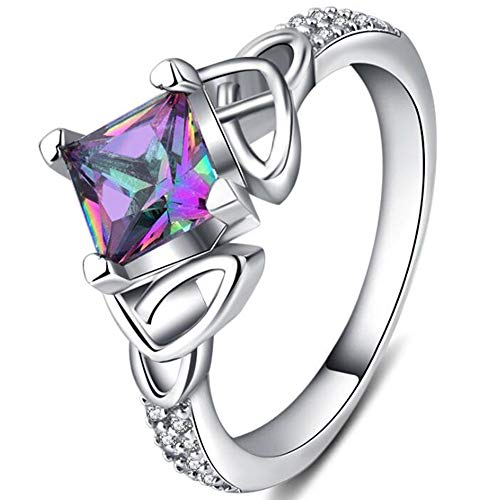 Jude Jewelers Celtic Knot Style Princess Cut Fire Crystal CZ Wedding Engagement Ring (Silver, 8)