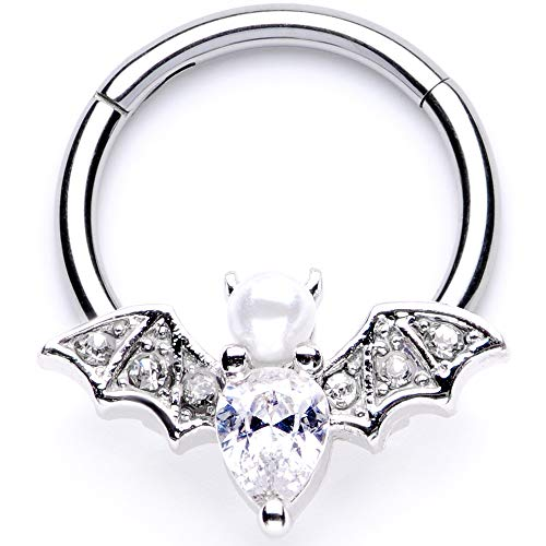 Body Candy Womens 16G Steel Hinged Segment Ring Seamless Cartilage Nipple Ring Clear Bat Nose Hoop 3/8""