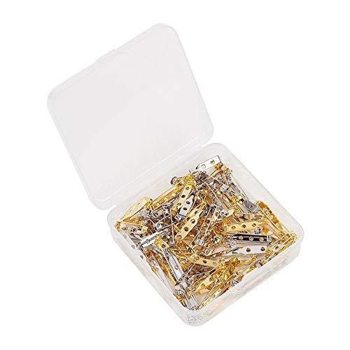 STK ブローチピン 安全ピン 三つ穴 ウラピン ブローチ金具 手芸材料 金属パーツ ゴールド (20mm, 50pcs)