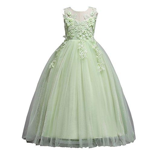 S&T 子供ドレス ロングドレス 人気のピアノ発表会ドレス フォーマル ガールズ 刺繍 パーティー 結婚式 ワンピース ノースリーブ 丸襟 リボン付き グリーン 170cm
