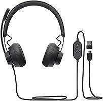 Logitech Zone 750 Auriculares Over-Ear con cable y micrófono con cancelación de ruido, USB-C y adaptador USB-A,...