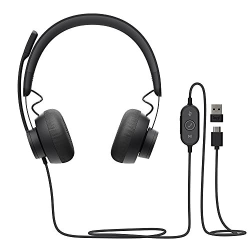 Logitech Zone 750 Auriculares Over-Ear con Cable y micrófono con cancelación de Ruido, USB-C y Adaptador USB-A, compatibilidad Plug-and-Play para Todos los Dispositivos - Gris