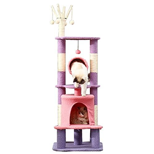 WUQIAO Condominio para Gatitos de Varios Niveles con rascador de árbol de Gato Estilo Castillo, diseño de...