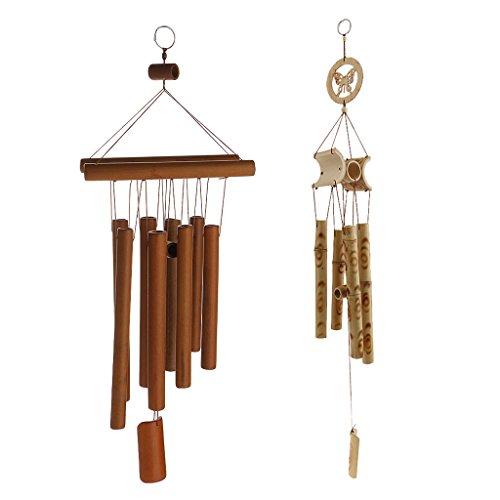 Homyl 2X Carillon à Vent Son Relaxant Porte Ornement Suspendu pour Balcon Jardin Cour Xmas - Bambou Brun