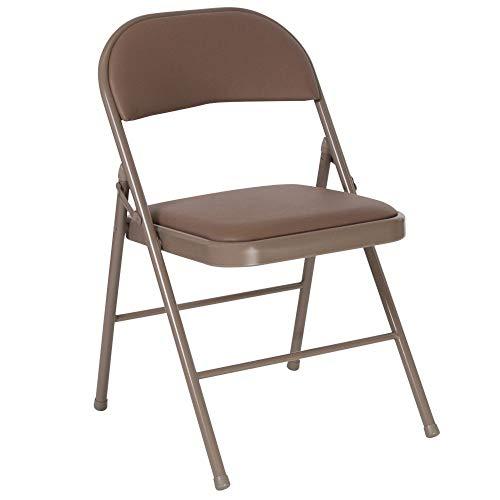 Flash Furniture 4 Pk HERCULES Series Double Braced Beige Vinyl Folding Chair
