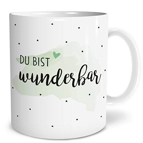 OWLBOOK Du bist wunderbar große Kaffee-Tasse mit Spruch im Geschenkkarton schöne Geschenkidee Geschenke für Deine Liebsten