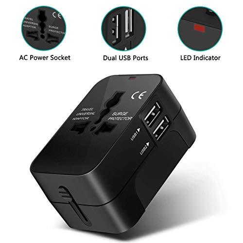 Amoner Adattatore Universale da Viaggio con 2 Porte Caricabatterie USB Adatto per US/EU/UK/aus più di 180 Paesi.