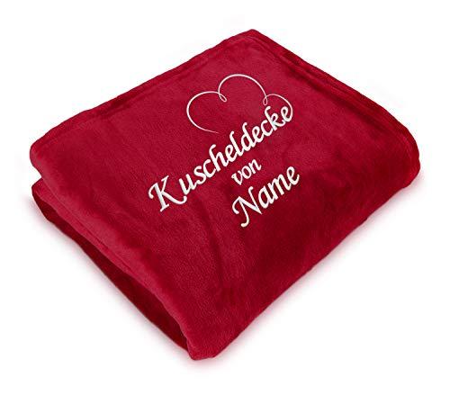 Direkt-Stick.de Kuscheldecke Bestickt mit Namen, 150 x 200 cm, Wohndecke Personalisieren mit Stickerei, Decke selbst gestalten, Romantisches Namensgeschenk mit Herz (rot)