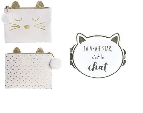 Groupe CMP - Lot de Trousse de Toilette + Miroir de Poche La Vraie Star C'est Le Chat Couleur Blanc