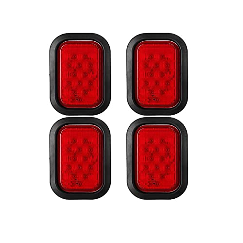 """Partsam 4X 12 LED Rectangle Truck Trailer Stop Tail Brake Lights Red 5""""x3"""" w/Rubber Mount, Sealed 5""""x3"""" 4X Red Rectangle 12 LED Stop/Turn/Tail Truck Trailer Hitch Light Grommet Wire Kit"""