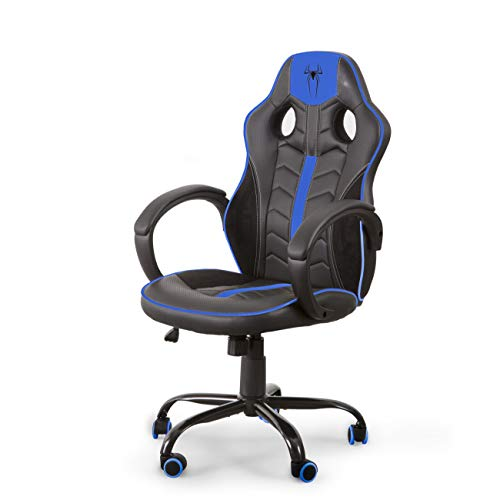 Home Heavenly® Chaise Gaming RAZING-S Chaise de Bureau Fauteuil Gamer Ergonomique Rotatif Siège Réglable en Hauteur (Bleu)