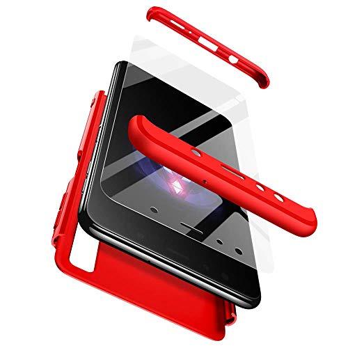 cmdkd Hülle Kompatibel mit Samsung Galaxy A7 2018/A750,Hardcase 3 in 1 Handyhülle 360 Grad Hülle Full Cover Hülle Komplett Schutzhülle Glatte Bumper + Panzerglas.Rot