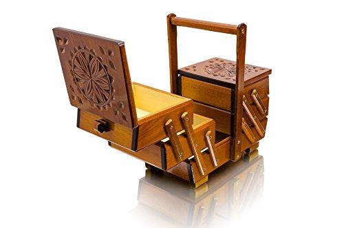 Costurero y joyero, de 30cm, de color marrón, con un diseño detallado, hecho a mano e ideal para hacer decoupage