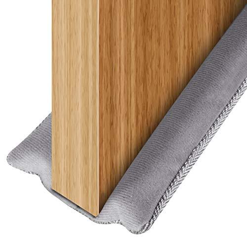 USUKUE Twin Door Draft Stopper, Under Door Bottom Seal Strip Noise Blocker for Door Insulation and Soundproofing, 42 inch Length Adjustable Suitable for 30, 32, 36 and 42 Inch Interior Doors