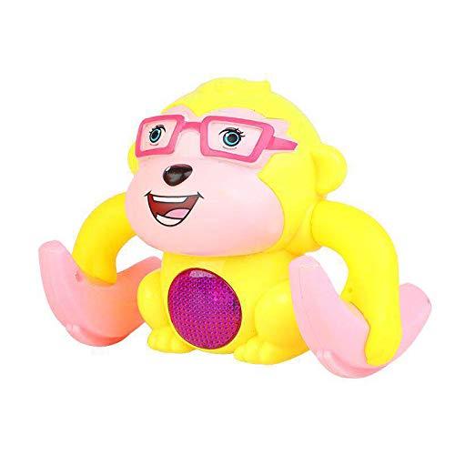 QJJ Electric Tumblbling Little Monkey Somersault Soundling Sound and Light Boy Baby Baby Puzzle Puzzle Juguete de los niños (sin batería) (Color : Yellow)