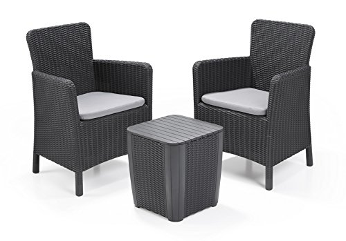 Keter Trenton Balcony Furniture Set Consisting of 2 Chairs and a Table with Cushion Included Colour: Graphite