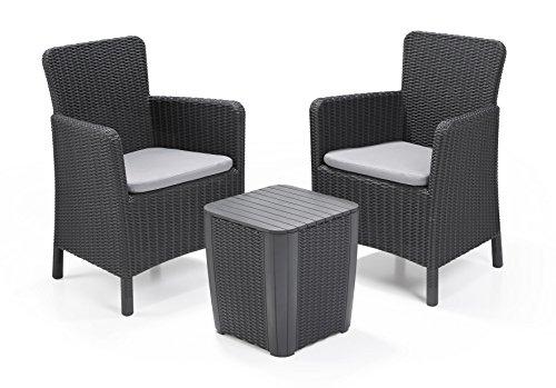 Keter, Trenton Balcony, Balkonmöbelset bestehend aus 2 Stühlen und einem Tisch, mit Sitzkissen inklusive, Farbe: graphit 60x60x16 cm graphitgrau