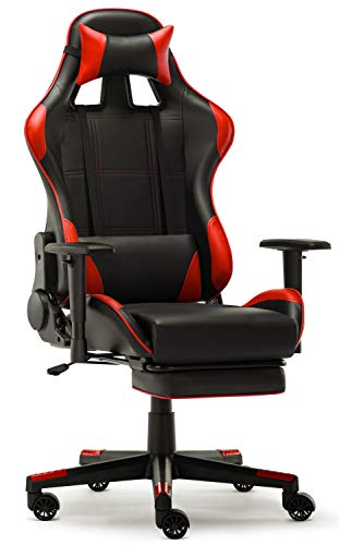 IntimaTe WM Heart Silla Gaming, Silla Gamer con Reposapies Silla Escritorio Giratoria Altura Ajustable Respaldo Inclinable hasta 135 ° PU (Roja)