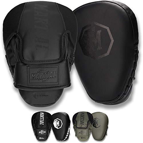 Manoplas Martial con Acolchado Ideal para una óptima absorción del Impacto. Manoplas de Boxeo para Artes Marciales, MMA, Kickboxing. Almohadillas de Boxeo con un Ajuste Ideal - un par.