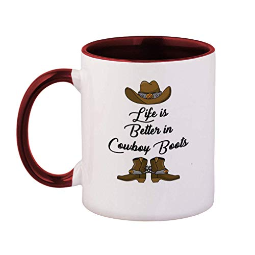Colored Handle Coffee Mug Life is Better in Cowboy Boots Ceramic Tea Cup, Maroon Inner/Handle