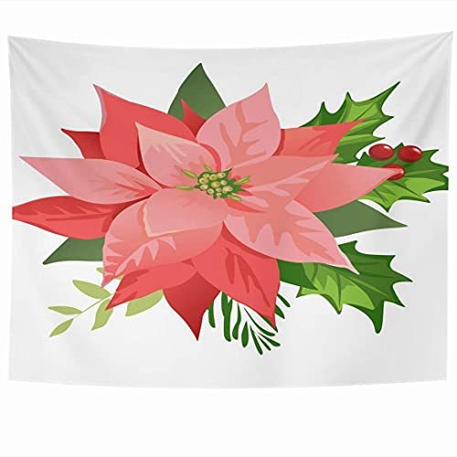 Wall Hanging Tapestries Season Round Christmas New Poinsettia Flowers Greeting Red Leaves Award Folk Decor Nature Holidays Tapestry Wall Blanket Home Decor Living Room Bedroom Dorm