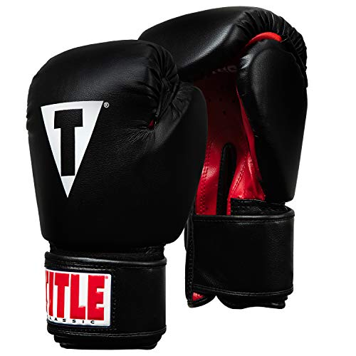 Title Classic Boxing Gloves, Black/Red, Regular, 12 oz