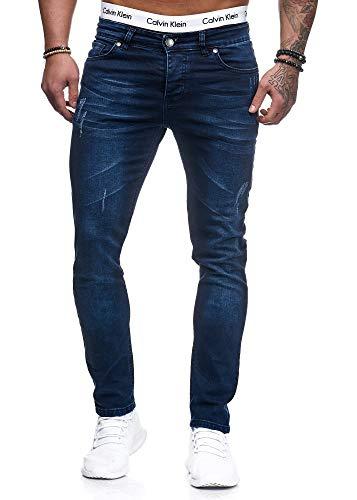 Herren Designer Chino Jeans Hose Basic Stretch Jeanshose Slim Fit W28-W36 Dunkelblau 5077 W32 L32