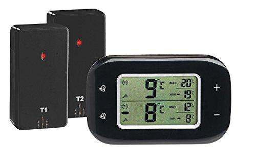 Rosenstein & Söhne Kühlschrankthermometer: Digitales Kühl- & Gefrierschrank-Thermometer, 2 Funk-Sensoren, schwarz (Kühlschrankthermometer Funk)