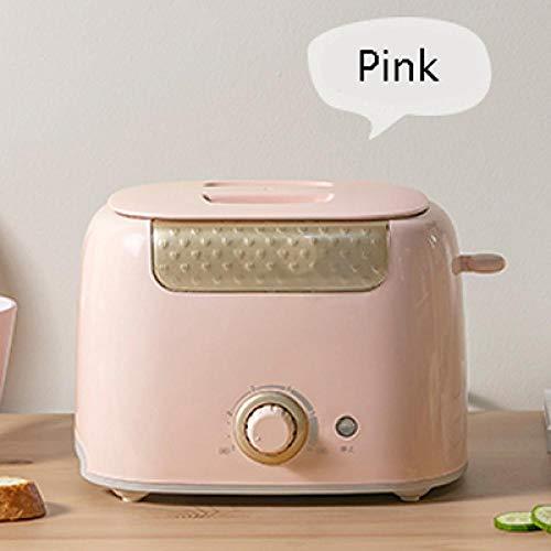 Máquina De Desayuno Mini Tostadora Automática Calefacción Rápida Hogar 2 Rebanadas Pan Tostado Sandwich Acero Inoxidable Rosa